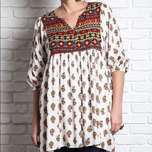 Umgee mixed print peasant tunic top dress sz S